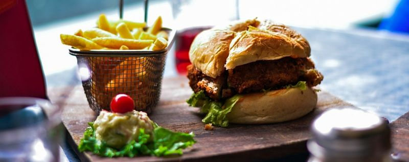 a set meal of burger and fries - SingSaver