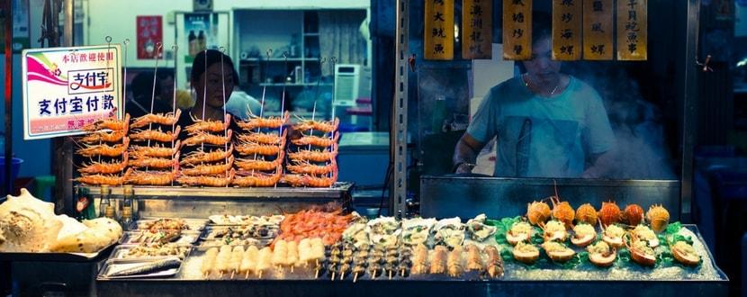 taiwan night market street food skewers