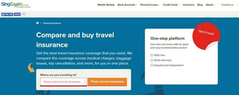 singsaver travel insurance page - SingSaver