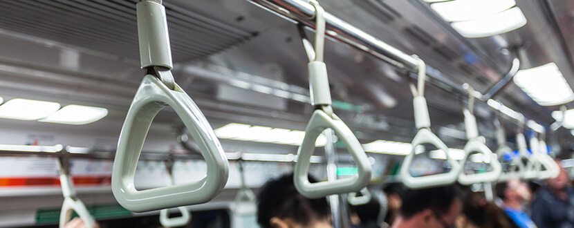 Display of hand holders in the train - SingSaver
