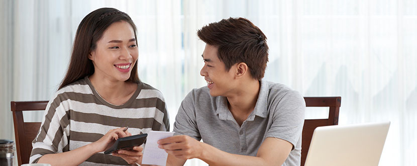 boy and girl happy calculating together -SingSaver